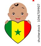 baby and a senegal flag in the... | Shutterstock .eps vector #1046709907