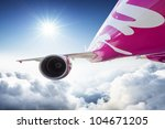 Aircraft / airplane in the sky - dynamic view - stock photo