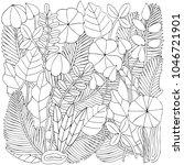 floral doodle background...   Shutterstock .eps vector #1046721901