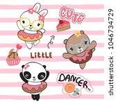 funny cartoon animals dancing... | Shutterstock .eps vector #1046734729