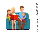 mother   father with two kids... | Shutterstock .eps vector #1046751055
