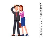 woman whispering gossip secrets ... | Shutterstock .eps vector #1046751217
