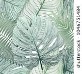 seamless pattern with tropical... | Shutterstock .eps vector #1046751484