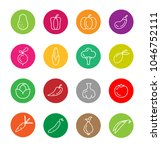 vegetables icons set in round | Shutterstock .eps vector #1046752111