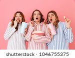 three young girls 20s wearing... | Shutterstock . vector #1046755375
