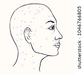 face  profile  acupuncture...   Shutterstock .eps vector #1046766805