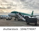 Small photo of Dublin, Ireland - February 2018: Passengers disembarking an Aer Lingus aircraft upon arrival at Dublin Airport