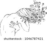 the curly haired girl turned... | Shutterstock .eps vector #1046787421