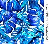monstera pattern watercolor...   Shutterstock . vector #1046807971