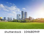 city park under blue sky with... | Shutterstock . vector #104680949