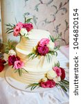 sweet wedding cake with live... | Shutterstock . vector #1046820154