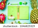blank green notebook with...   Shutterstock . vector #1046825329