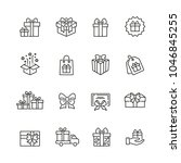 gifts related icons  thin... | Shutterstock .eps vector #1046845255