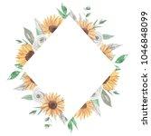 sunflower floral frame leaves... | Shutterstock . vector #1046848099