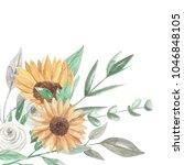 sunflower floral corner leaves... | Shutterstock . vector #1046848105