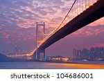 bridge in sunset   under view | Shutterstock . vector #104686001