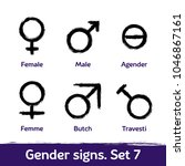 gender signs drawn with brush.... | Shutterstock .eps vector #1046867161