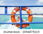 life preserver on a ferry near...   Shutterstock . vector #1046875615
