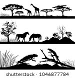 set of wild animals. giraffes ... | Shutterstock . vector #1046877784