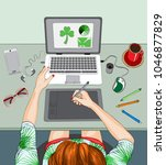 illustration of woman working...   Shutterstock . vector #1046877829