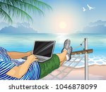 working on the beach with a...   Shutterstock . vector #1046878099