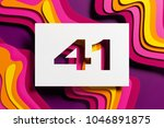 white paper cut number 41 on... | Shutterstock . vector #1046891875