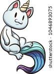 happy cartoon floating caticorn.... | Shutterstock .eps vector #1046893075