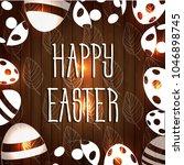 vector card with eggs. happy... | Shutterstock .eps vector #1046898745