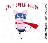 typography slogan with cute pig ... | Shutterstock .eps vector #1046927899