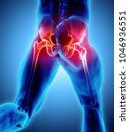 3d illustration  hip painful...   Shutterstock . vector #1046936551