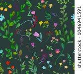 dark plants. floral seamless...   Shutterstock .eps vector #1046941591