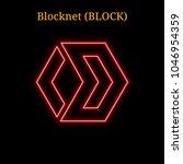 red neon blocknet  block ... | Shutterstock .eps vector #1046954359