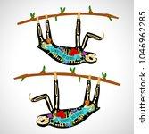 sloth on a branch. skeleton...   Shutterstock .eps vector #1046962285
