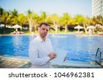 working on laptop from the...   Shutterstock . vector #1046962381