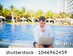 working on laptop from the...   Shutterstock . vector #1046962459