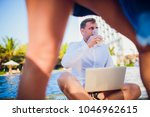 woman distracting from the work ...   Shutterstock . vector #1046962615