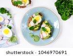 egg and avocado sandwich...   Shutterstock . vector #1046970691