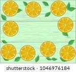 fresh boarder of fruits on... | Shutterstock .eps vector #1046976184