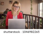 business woman is working on...   Shutterstock . vector #1046982265