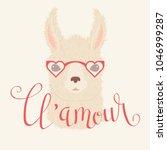 llama in heart shaped glasses... | Shutterstock .eps vector #1046999287