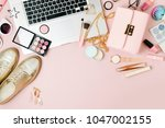fashion blogger workspace with...   Shutterstock . vector #1047002155