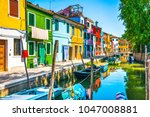 burano island canal  colorful... | Shutterstock . vector #1047008881