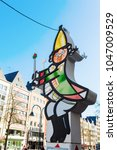 Small photo of Cologne, Germany - February 24, 2018: light sculpture of a carnival character in Cologne. Cologne is well known for it`s street carnival