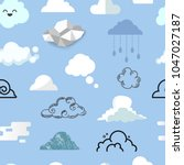 cloud icon different style... | Shutterstock .eps vector #1047027187