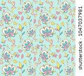 seamless pattern with cartoon... | Shutterstock .eps vector #1047037981