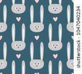 repeated faces of sweet rabbits ... | Shutterstock .eps vector #1047040234