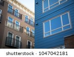 wide angle close up on a modern ... | Shutterstock . vector #1047042181