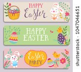 template vector card with eggs... | Shutterstock .eps vector #1047046651