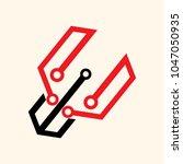 hexagon digital logo | Shutterstock .eps vector #1047050935
