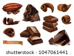chocolate. pieces  shavings ... | Shutterstock .eps vector #1047061441
